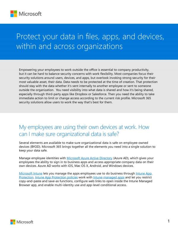 Protect your data in files, apps, and devices, within and across an organization Post Preview